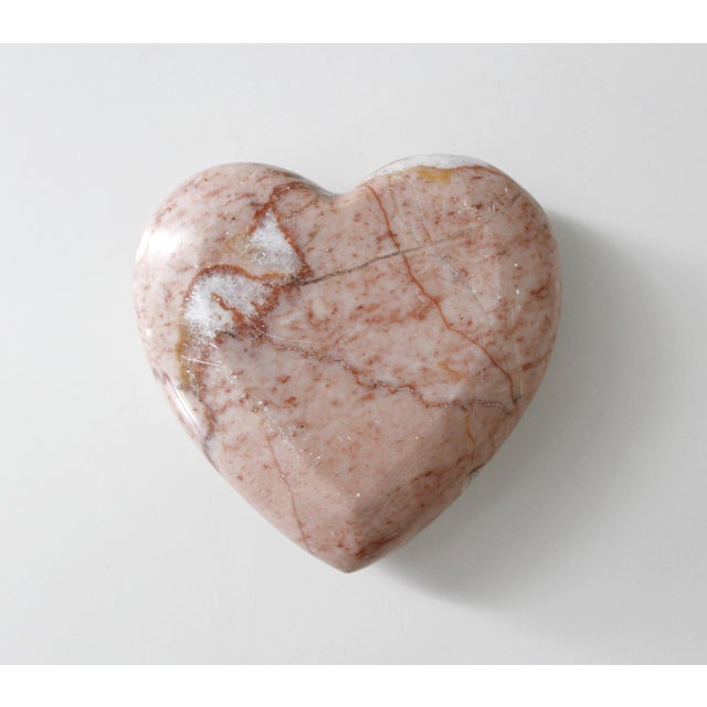 Boho Chic Vintage Pink Marble Heart Paperweight Mid Century Figurine For Sale - Image 3 of 5