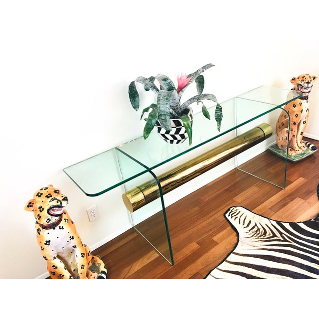 Transparent 1970s Ultra Modern Glass & Brass Beam Console Sofa Table For Sale - Image 8 of 11
