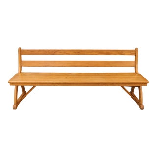 1970s Vintage Solid Oak Long Bench For Sale