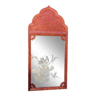 Huge Tony Duquette Red Keyhole Mirror W Etched Nude Maiden - Signed Bombay India C.1940 For Sale
