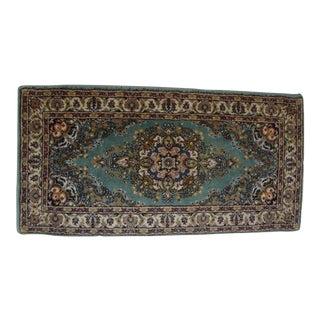 Vintage Turkish Teal Green Wool Rug - 1′8″ × 3′3″