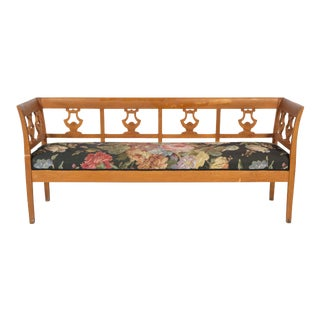 Antique Swedish Harp Bench With Floral Upholstery For Sale