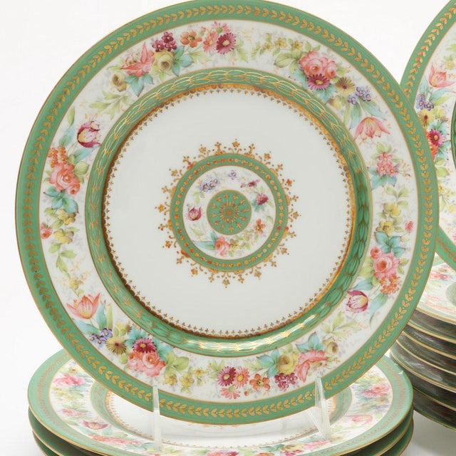 For your consideration this original one set of 12 BEAUTIFUL Limoges Porcelain Plates, Charles Ahrenfeldt created for...