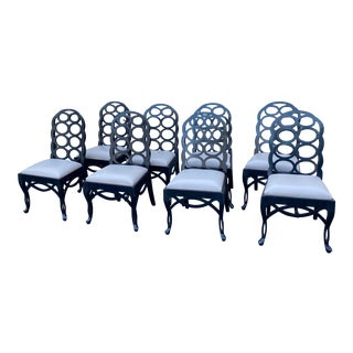 Set of 8 Loop Dining Chairs Attributed to Frances Elkins For Sale