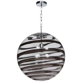 Murano Glass Globe Pendants With Black Swirl Accent For Sale