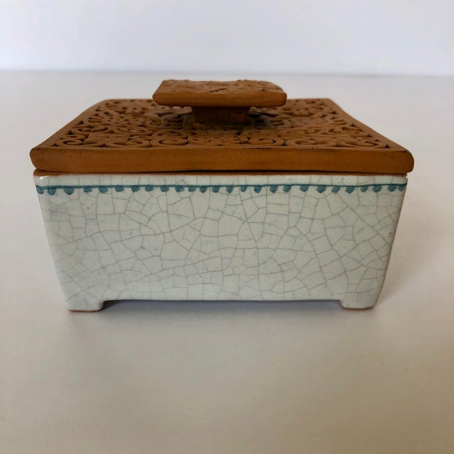 Mid 20th Century Vintage Italian Terra-Cotta Intaglio Trinket Box For Sale - Image 5 of 7