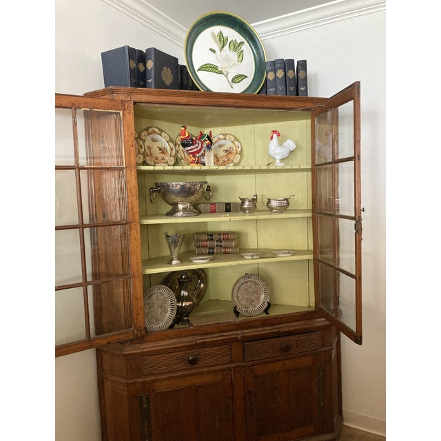 Late 19th Century Pine Corner Cabinet With Wavy Original Glass For Sale - Image 5 of 8
