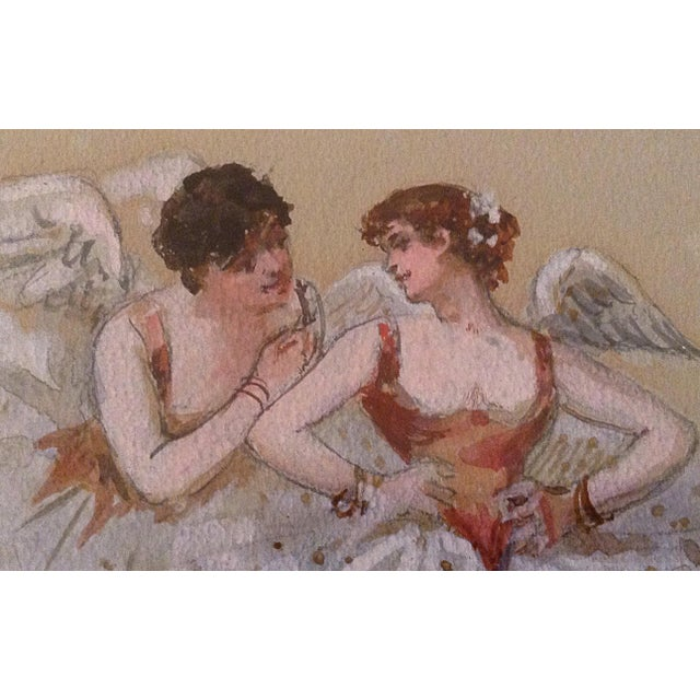 French French Watercolor Angels For Sale - Image 3 of 4