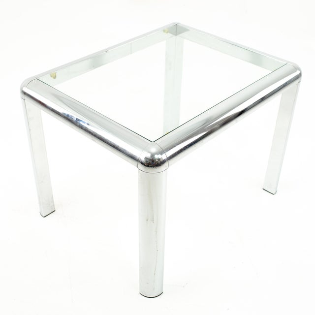 Milo Baughman Style Mid Century Chrome and Glass Side End Table For Sale - Image 10 of 10