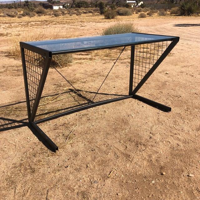 1980s Post-Modern Metal Glass Grid Desk For Sale - Image 10 of 10