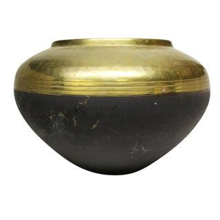 Brass Hand Hammered Vase With Black Bottom