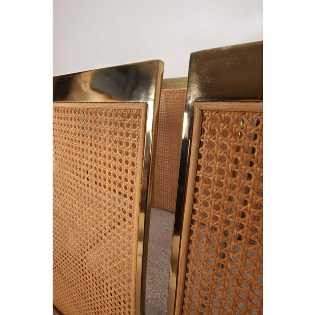 Metal Late 20th Century High Back Brass & Caned Dining Chairs by Milo Baughman for Thayer Coggin- Set of 10 For Sale - Image 7 of 13