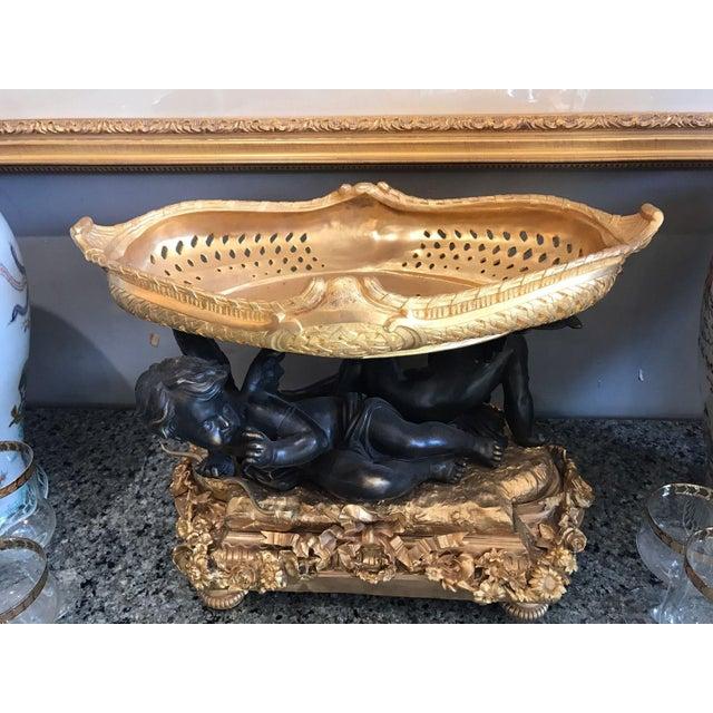 Classical Gilt Bronze Figural Putti Coupe Centerpiece - Image 7 of 8