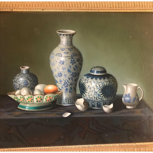 Beautifully painted pair of sill life oil on board in giltwood frames. The hyper realism style of Chinese porcelain and...