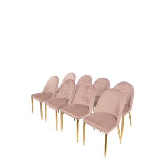 Modern Wave Upholstered Velvet Dining Chairs in Blush Pink- Set of 8 For Sale