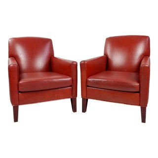 Philippe Starck Art Deco Club Chairs Ostrich Leather Red - a Pair For Sale