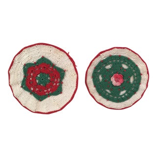 Vintage Crocheted Christmas Hot Pads - A Pair