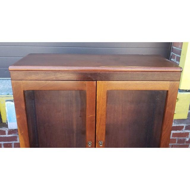 1930s Very Nice 1930s Walnut Double Glass Door Hallway Bookcase Cabinet For Sale - Image 5 of 9