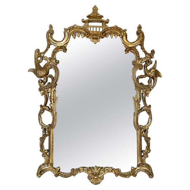 Wood Gampel-Stoll Hollywood Regency Chinoiserie Mirror in Carved Giltwood For Sale - Image 7 of 7