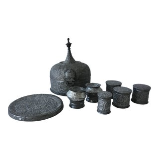 19th Century Moroccan Pewter Tea Set and Caddy - 8 Pc. Set For Sale