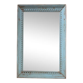Large Blue Architectural Salvage Mirror For Sale