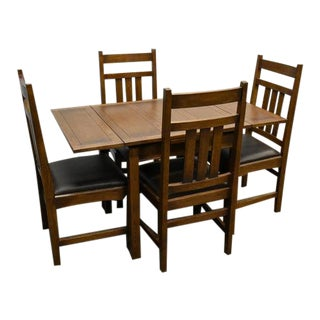 Crafters and Weavers Mission Oak Dining Set - 5 Pieces For Sale