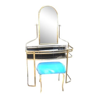 1970s Vintage Hollywood Regency Brass Mirror Vanity With Bench-a Pair For Sale