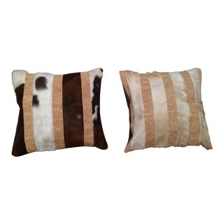 Cowhide Leather and Cork Pillows - A Pair