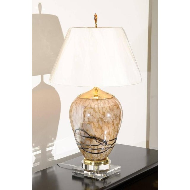 Blown Glass Extraordinary Pair of Eastern European Blown Glass Vessels as Custom Lamps For Sale - Image 7 of 11