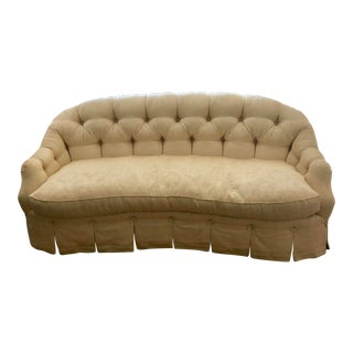 Cameron Collections Ivory Damask Tufted Sofa For Sale