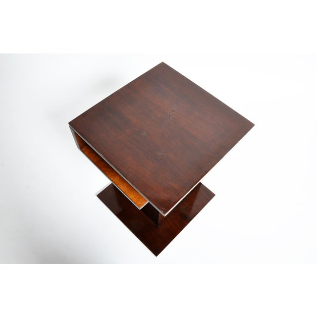 Hungarian Walnut and Maple Veneer Side Table With Shelves For Sale In Chicago - Image 6 of 13