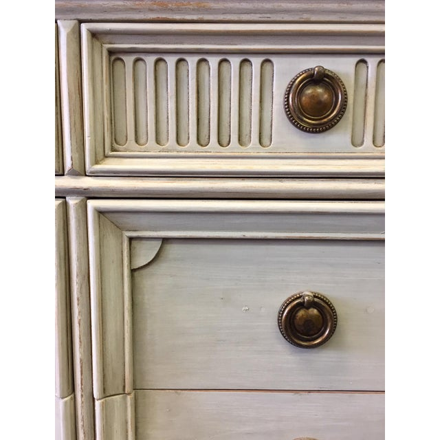 Metal Gray Lowboy Dresser With Circular Brass Pulls For Sale - Image 7 of 10