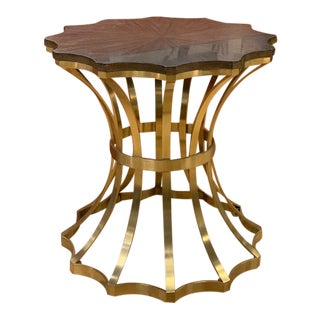 Chic Scalloped Spot Side Table For Sale