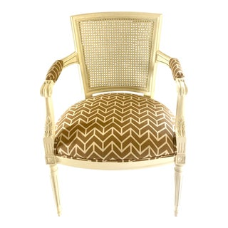 French Louis XVI Style Lacquered Caned Armchair