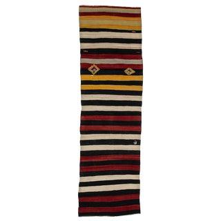 Vintage Striped Kilim Runner-2′10″ × 9′10″ For Sale