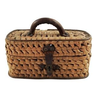1920s Americana Hand Woven Lidded Basket