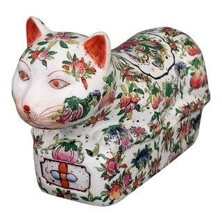 Rare Antique Chinese Ceramic Porcelain Famille Rose Cat Table Sculpture - Signed - Asian Figurine Boho Chic Haute Bohemian Floral Fruits Tropical