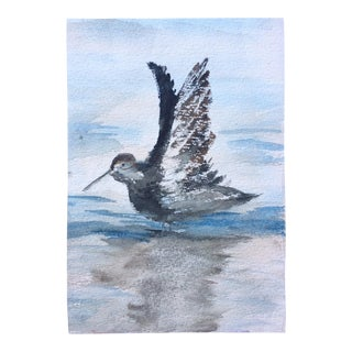 Vintage Watercolor of Bird in Flight For Sale