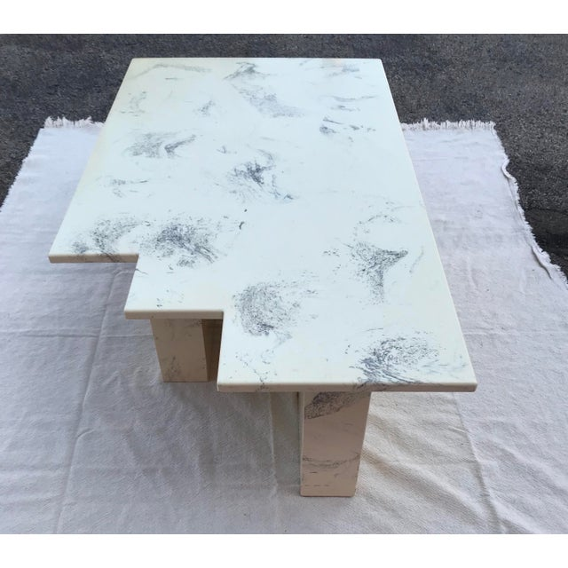 Vintage Postmodern Geometric Shaped Marble Coffee Table For Sale - Image 4 of 13