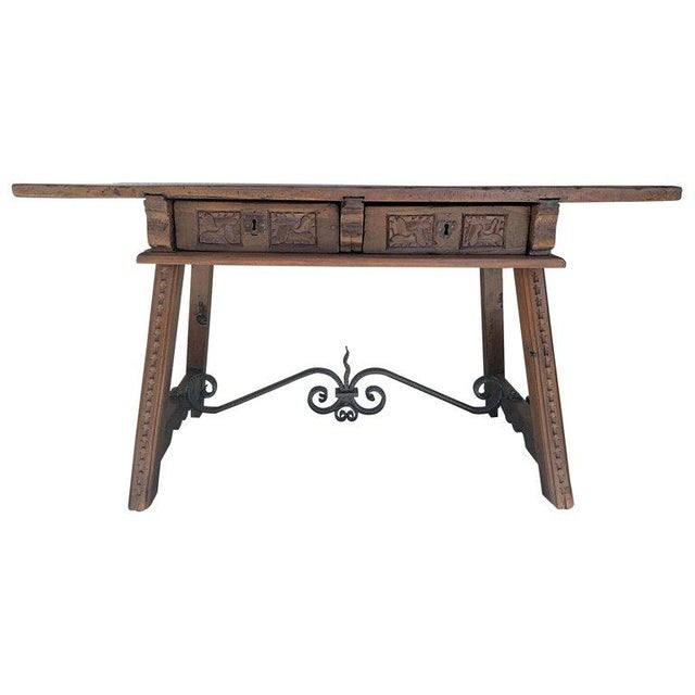18th Century Spanish Baroque Walnut Trestle Table, Restored For Sale - Image 13 of 13