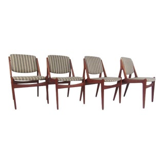 "Set of Danish Modern ""Ella"" Teak Dining Chairs by Arne Vodder For Sale"