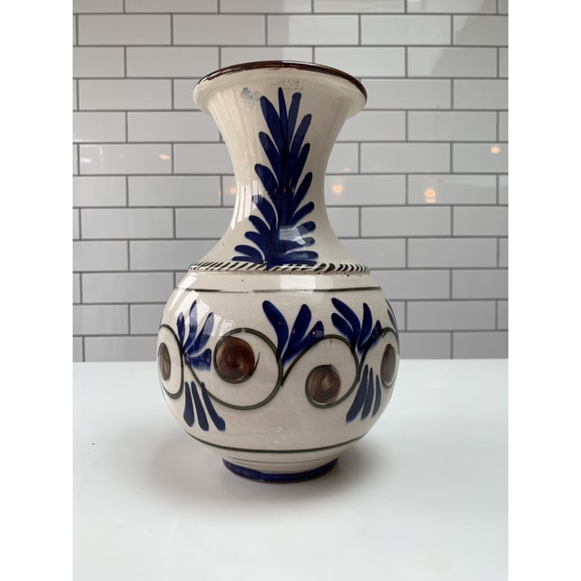 Ceramic Mid Century Modern Hand Painted Vase For Sale - Image 7 of 7