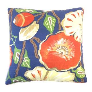 """Thibaut """"Nassau"""" Citrus Orange and Blue Corded Floral Pillow For Sale"""