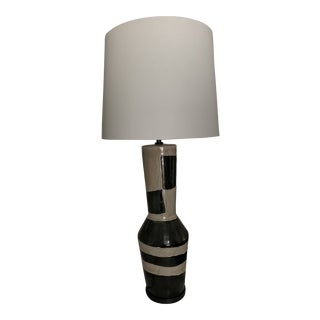 Designer Black and Sand Alta Table Lamp With Shade For Sale