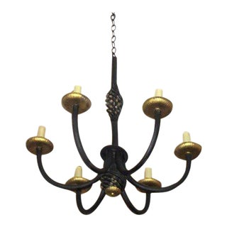 French MId-Century Wrought Iron Chandelier in Style of Gilbert Poillerat, 1940