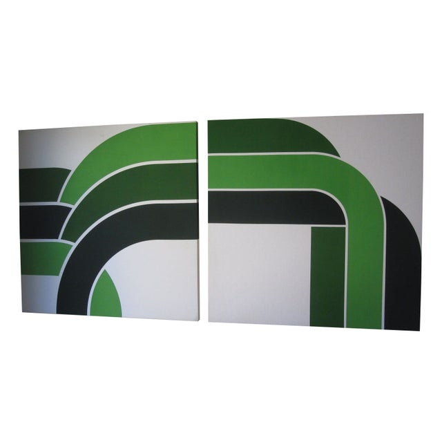 1970s Vintage Green Graphic Prints - Image 1 of 6