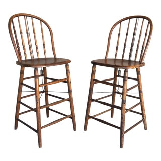 Antique Maple Hoop Back Bar Stools - a Pair For Sale