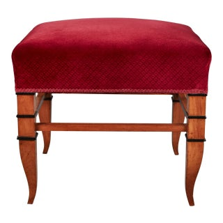 Handsome Tomaso Buzzi Stool in a Burgundy Velvet For Sale
