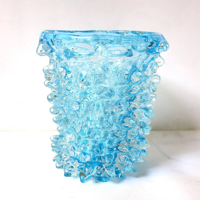 Vintage Italian vase made of hand blown aquamarine Murano glass with beaked protrusion details, by Maestro Camozzo. Signed...