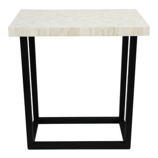White Inlay Herringbone Short Console